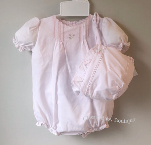 Petit Ami Girls Pink Classic Pintuck Bubble Romper & Bonnet Newborn