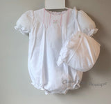 Petit Ami Girls White Classic Pintuck Bubble Romper & Bonnet Newborn
