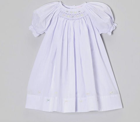 Petit Ami Girls Lavender Smocked Bishop Multi Dress 3 6 9 Months