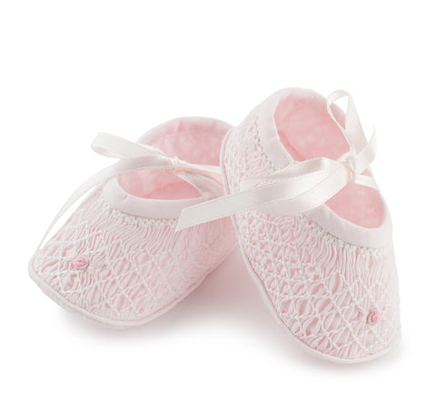 Feltman Brothers Pink Smocked Crib Shoes Girls Newborn 0 3 6 Months Size 1