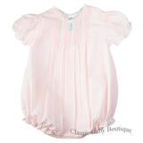 Feltman Brothers Girls Vintage Pink French Lace Bubble Romper Newborn