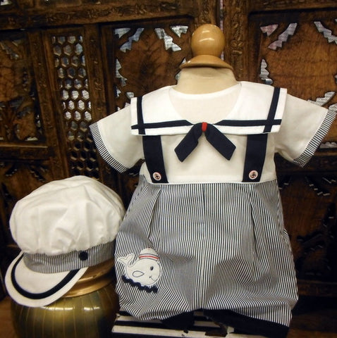 Will'beth Boys White & Navy Sailor Romper Jon Jon with Cap Newborn 3 6 9 Months