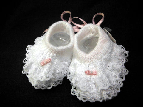 Will'beth White Pink Lace Pearl Baby Booties Shoes Girls Newborn