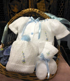 Will'beth White Blue Knit Ribbon 4pc Diaper Set Baby Girls or Boys Hat Booties Preemie Newborn