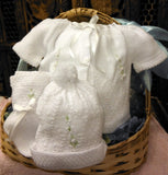Will'beth White Knit Ribbon 4pc Diaper Set Baby Girls Boys Unisex Hat Booties Preemie Newborn