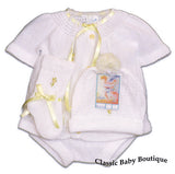 Will'beth White Yellow Knit Ribbon 4pc Diaper Set Baby Girls Boys Unisex Hat Booties Preemie Newborn