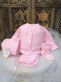 Will'beth Girls Hot Pink Textured Ribbon Knit 4pc Set with Bonnet & Booties Newborn