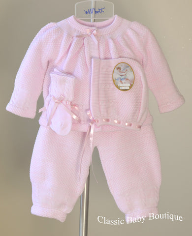 Will'beth Pink Knit 4pc Baby Girls Pant Set with Bonnet & Booties Newborn