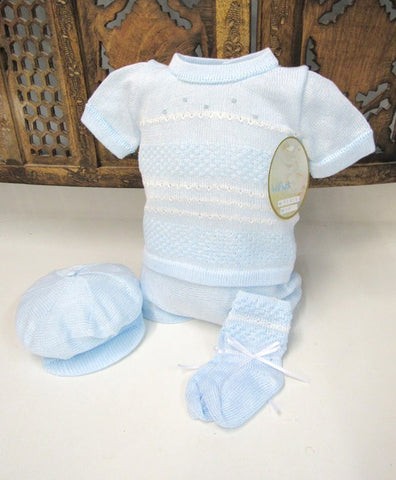 Will'beth Blue Knit 4pc Diaper Set Baby Boys Newborn 3 6 9 Months