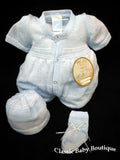 Will'beth Blue Knit 3pc Romper Bubble Preemie or Newborn Hat Baby Boys Booties