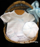 Will'beth Boys White Blue Airplane Knit Diaper 4pc Set Hat Booties Newborn & Preemie