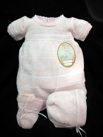 Will'beth Pink White Knit 3p Romper Preemie & Newborn Baby Girls with Bonnet & Booties