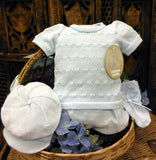 Will'beth Boys Blue Knit Classic Diaper 4pc Set with Hat & Booties Newborn Preemie