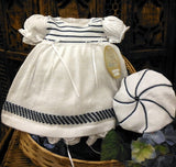 Will'beth White & Navy Sailor Knit Girls Dress 3pc Set Preemie or Newborn