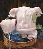 Will'beth Girls Pink & White Stripe Knit Ribbon Diaper Set with Bonnet Newborn & Preemie