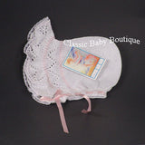 Will'Beth White Pink Knit Lace Baby Bonnet Newborn Girls Boutique Ribbon