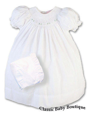 Petit Ami Girls White Bishop Smocked Baby Dress Daygown Christening Newborn 3 6 9 Months