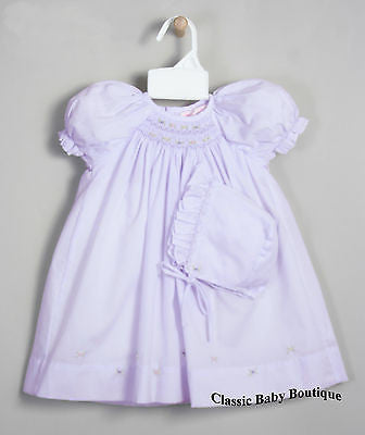 Petit Ami Girls Lavender Multi Smocked Bishop Dress Daygown Newborn
