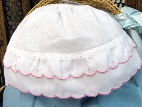 Will'Beth Girls White Pink Scallop Diaper Cover Bloomers Small Newborn 0 3 M