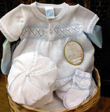 Will'beth Boys White Blue Knit Diamond Jon Romper Newborn 3 6 9 Months with Cap & Booties