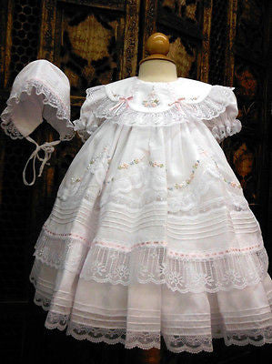 140b84773 Will'beth Girls White Fancy Lace Heirloom Vintage 3 piece Dress Preemi –  Classic Baby Boutique
