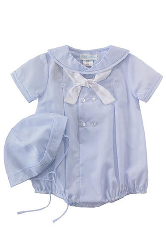 Petit Ami Boys Batiste Blue Sailor Romper Newborn
