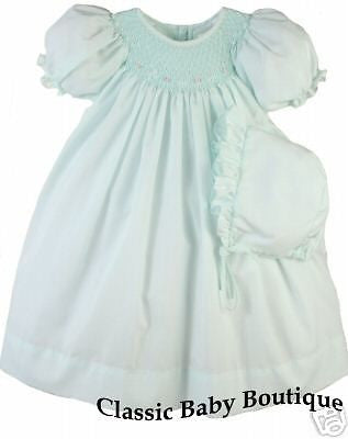 Petit Ami Girls Mint Smocked Bishop Daygown Dress Newborn