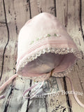 Feltman Brothers Pink Lace Embroidered Girls Baby Bonnet Preemie Premature