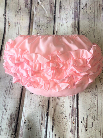 Will'Beth Pink Ruffled Diaper Cover Bloomers Size 0 3 Newborn Baby Girls
