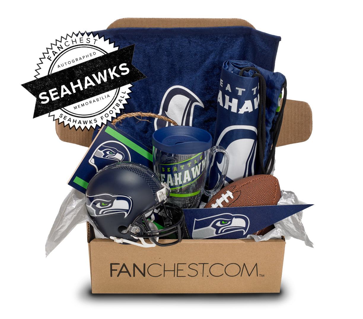 Seattle Seahawks Memorabilia Gift Box | Signed Mini Helmet Included