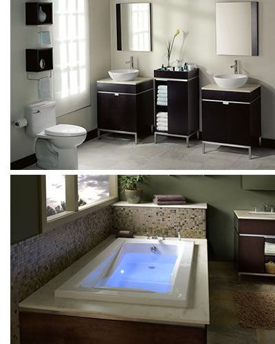 The American Standard Casual Bathroom Vanity, Faucet, Sink, Toilet  Collection Includes: