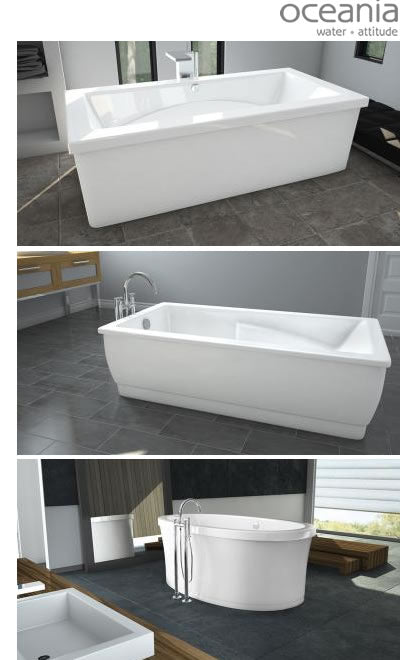 oceania freestanding tubs, soaker tubs, oval tubs, rectangular tubs