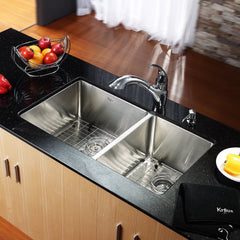 Kraus double bowl kitchen sink in stainless steel