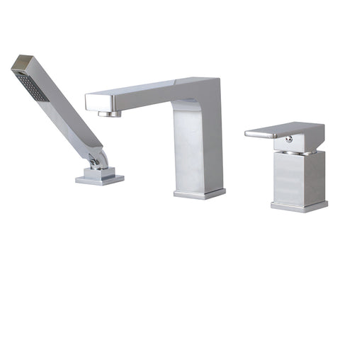 Aquabrass Tub Filler Madison 3-piece Deckmount with Handshower