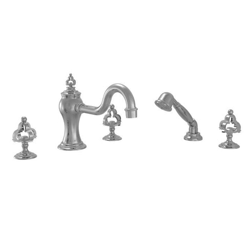 Phylrich Tub Filler Set with Hand Shower Couronne Cross Handle
