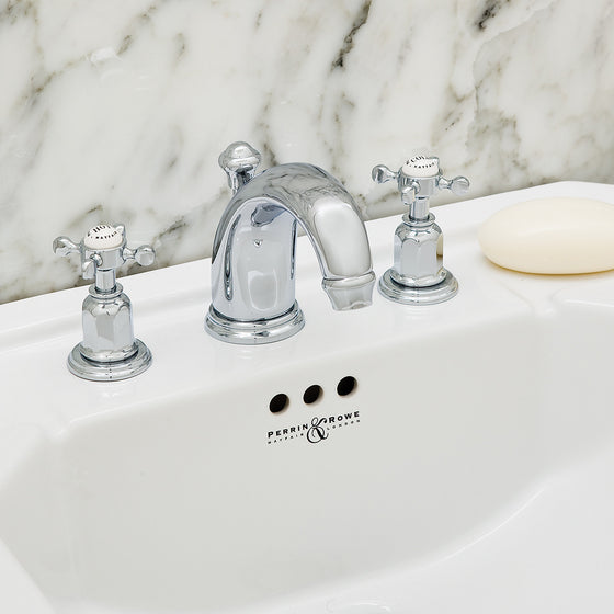 Perrin & Rowe Three hole basin set with low profile spout and crosshead handles