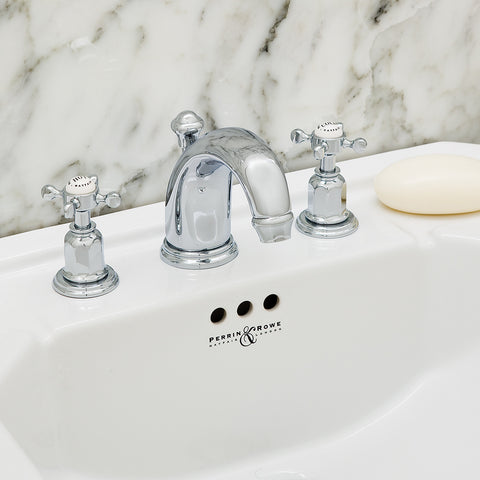 Perrin & Rowe Bath Faucets Three Hole Lever/Crosshead Handle with ...