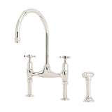 Perrin & Rowe Ionian deck mounted taps with crosshead handles and rinse