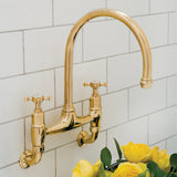 Perrin & Rowe Ionian wall mounted taps with crosshead handles