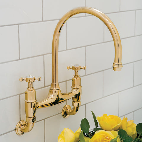 Perrin & Rowe Kitchen Faucet Ionian Lever/Crosshead Handle Wall ...