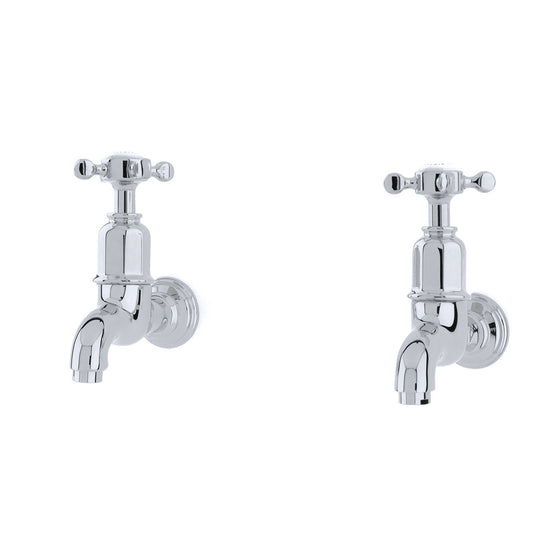 Perrin & Rowe Mayan wall mounted taps with crosshandle handles