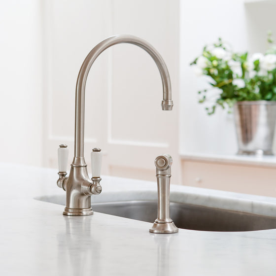 Perrin & Rowe Phoenician sink mixer with lever handles and rinse