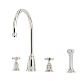 Perrin & Rowe Athenian four hole sink mixer with crosshead handles and rinse