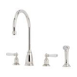 Perrin & Rowe Athenian four hole sink mixer with lever handles and rinse