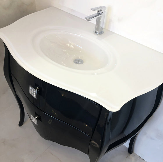 Macral Bath Vanity Paris Collection - Black Gloss