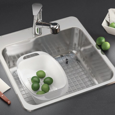 Kindred QSLF2020/8 Bar Sink with BG11S Bottom Grid and CA1W Colander