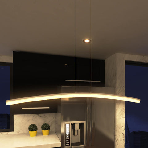 Haeidi Modern Linear LED Chandelier, Satin Nickel
