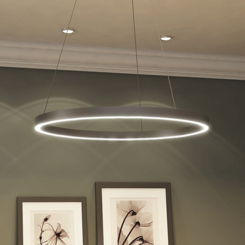 Tania Modern Circular LED Chandelier, Satin Nickel
