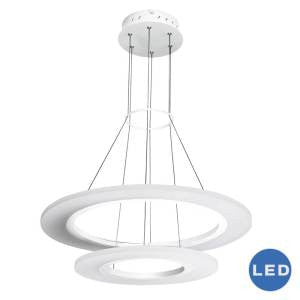 "Tania Duo 24"" Modern Two-Tier Circular Adjustable Hanging LED Chandelier, White"