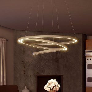 "Tania Trio 32"" Modern Three-Tier LED Chandelier, Satin Nickel"